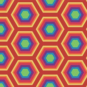 Hexigons Rainbow  Bright