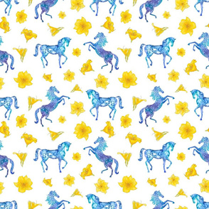 Horse pattern with yellow lily flowers