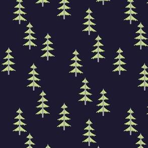 Green Trees (midnight navy) Woodland Forest Fabric, gray tree trunks