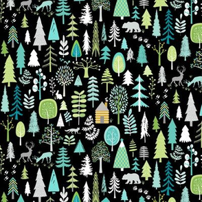 Cabin in the Woods (black) Trees Woodland Forest, SMALLER scale