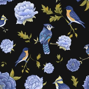 Blue and Black Elegant Flowers and Birds