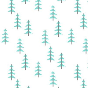 Trees (blue + gray) Woodland Forest Fabric