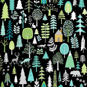 Cabin in the Woods (black) Trees Woodland Forest, MEDIUM scale