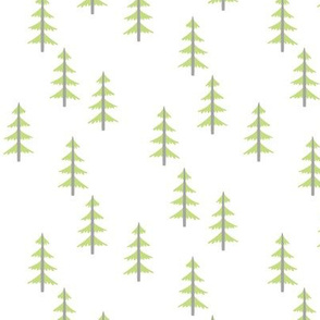 Trees (green + gray) Woodland Forest Fabric