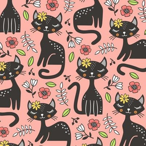 Black Cats & Flowers on Warm Pink