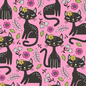 Black Cats & Flowers on Pink