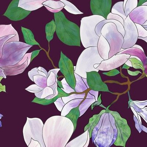Purple Magnolias - plum purple theme