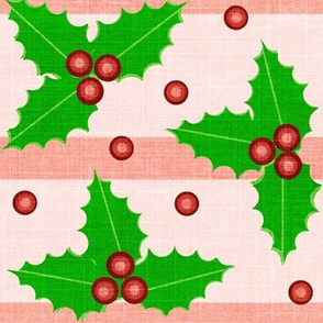 Winter Berry / Striped - Textured  / Holly