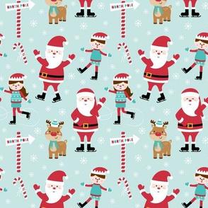 tiny ice skaters light teal :: cheeky christmas