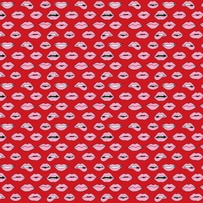 TINY - lips pattern fabric - beauty and makeup fabric, girls valentines day fabric, kiss lips fabric - pink lips