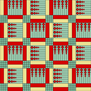 "40 Something (6""): Red & Jadite Green Retro Geometric Tiles"