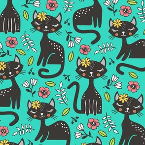 Black Cats & Flowers on Green