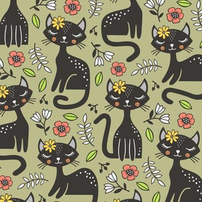 Black Cats & Flowers on Olive Green