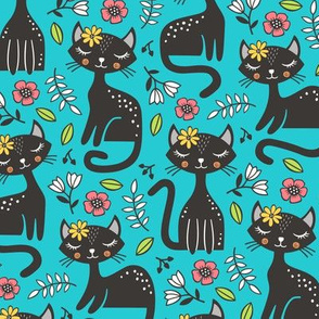 Black Cats & Flowers on Blue