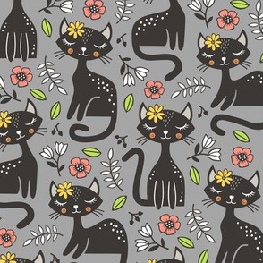 Black Cats & Flowers on Grey