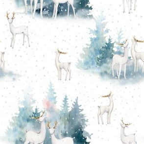 """7"""" snowy winter woodland with forest animals"""