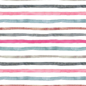 Watercolour Stripes Pinks Greys and Blues