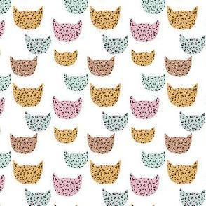 Wild cats leopard print kawaii design animal print panther trend pink mint ochre yellow on white XS