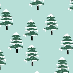 Woodland forest adventures snow winter wonderlands Christmas trees pine trees woods mint green