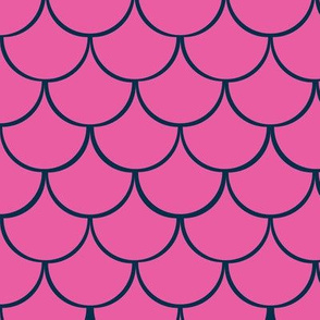 Fish scales in hot pink and navy