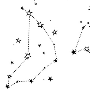 large - stars in the zodiac constellations in black on white