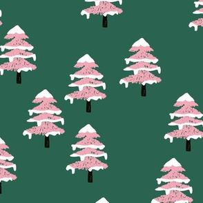 Woodland forest adventures snow winter wonderlands Christmas trees pine trees woods deep green pink