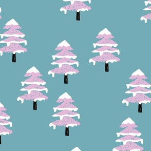 Woodland forest adventures snow winter wonderlands Christmas trees pine trees woods stone blue pink