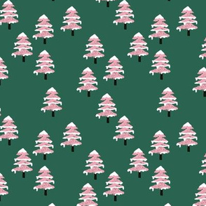 Woodland forest adventures snow winter wonderlands Christmas trees pine trees woods deep green pink SMALL