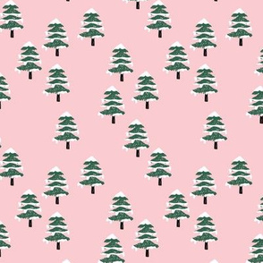 Woodland forest adventures snow winter wonderlands Christmas trees pine trees woods pink emerald SMALL