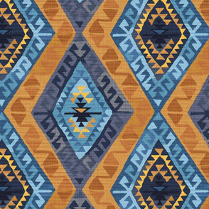 Kilim - Indigo and Gold - Large Scale