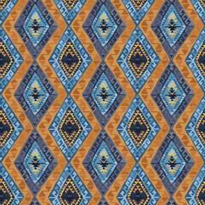 Kilim - Indigo and Gold -  Small Scale