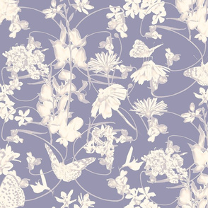 Wildflowers in Lavender Grey & Cream