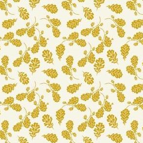 TINY - Oak leaves nature botanical fall autumn fabric pattern mustard