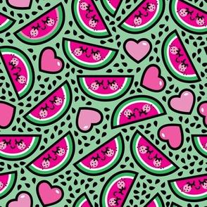 aloha watermelon heart scatter on green