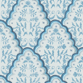 Large BLUE SCALLOPED EDGES PAISLEY TEXTURE
