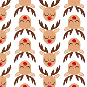 Reindeer - Rudolph - white - Holiday fabric - LAD19