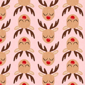Reindeer - Rudolph - pink - Holiday fabric - LAD19