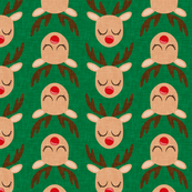 Reindeer - Rudolph - green - Holiday fabric - LAD19