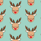 Reindeer - Holiday fabric - mint - C19BS