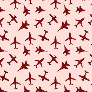 Cranberry airplanes on coral • smaller scale • watercolor