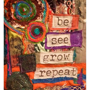Be, See Collage Fibre Art Fabric Panel