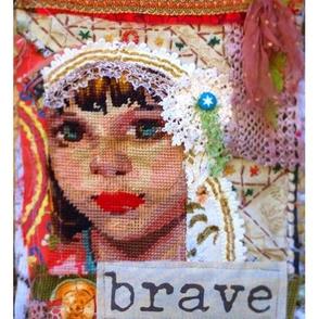 Brave Collage Fibre Art Fabric Panel