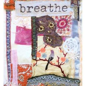 Breathe Collage Fibre Art Fabric Panel