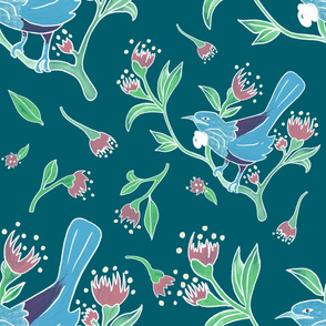 Tui birds in teal