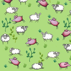 Cute sheep and pigs
