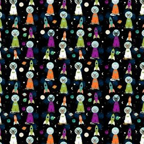 TINY - devon rex cat breed fabric space ship outer space catstronauts green purple
