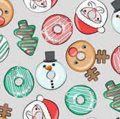 Christmas Donuts - Santa, Rudolph, Snowman - holiday donuts - grey - LAD19