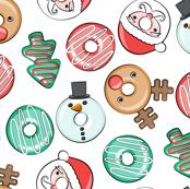 Christmas Donuts - Santa, Rudolph, Snowman - holiday donuts - white - LAD19
