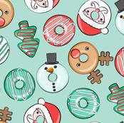 Christmas Donuts - Santa, Rudolph, Snowman - holiday donuts - mint - LAD19