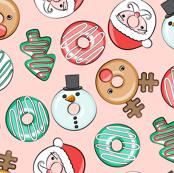 Christmas Donuts - Santa, Rudolph, Snowman - holiday donuts - pink - LAD19